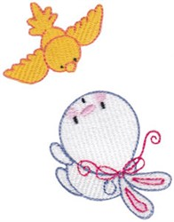 Bunny & Bird embroidery design