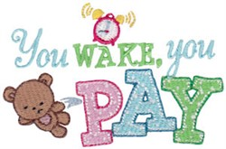 You Wake embroidery design
