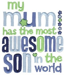 Most Awesome Son embroidery design