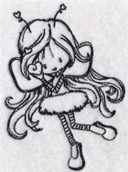 Redwork Girl Bug embroidery design