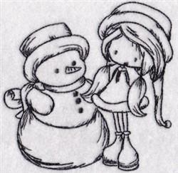 Redwork Snowman & Girl embroidery design