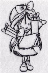 Christmas Gift Girl embroidery design