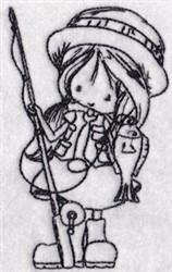Fishing Girl embroidery design