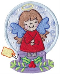Snowglobe Angel embroidery design