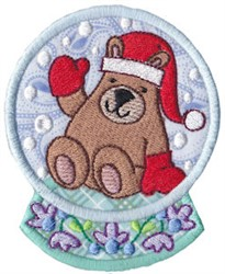 Snowglobe Bear embroidery design