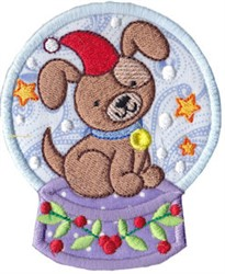 Snowglobe Dog embroidery design
