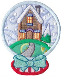 Snowglobe House embroidery design
