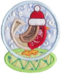Snowglobe Bird embroidery design