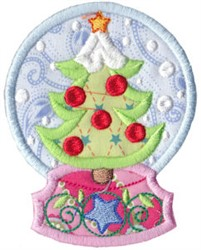 Snowglobe Xmas Tree embroidery design