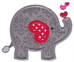 Applique Valentines Day Elephant embroidery design