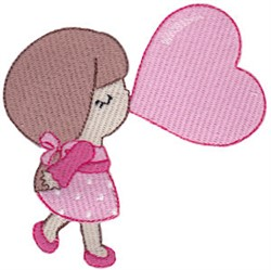 Little Valentines Day Girl embroidery design