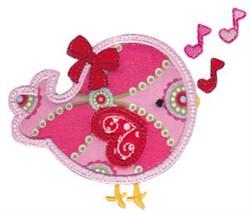 Applique Valentines Day Bird embroidery design