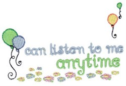 Listen Anytime embroidery design