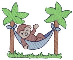 Beach Lounging Monkey embroidery design