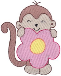 Monkey & Flower embroidery design