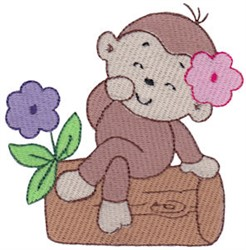 Monkey On A Log embroidery design