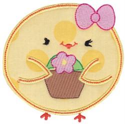 Chickadee & Flowers Applique embroidery design
