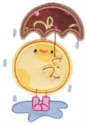 Chickadee & Umbrella Applique embroidery design