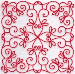 Elegant Redwork Quilt Block embroidery design