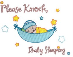 Please Knock, Baby Sleeping embroidery design