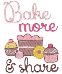 Bake More & Share embroidery design