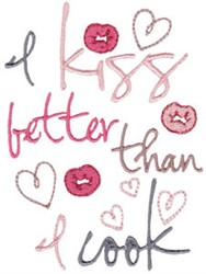 Kissing Cook embroidery design
