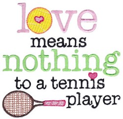 Love & Tennis embroidery design