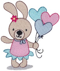 Bunny Rabbit & Balloons embroidery design