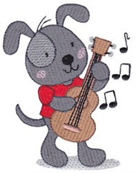 Guitar Playing Puppy embroidery design