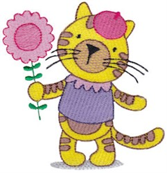 Tiger & Flower embroidery design