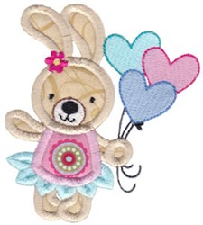 Applique Rabbit & Balloons embroidery design