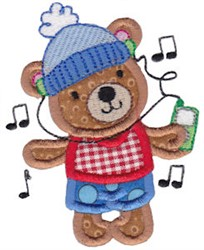 Applique Rocking Teddy Bear embroidery design