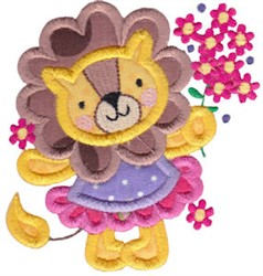 Applique Lion & Flowers embroidery design