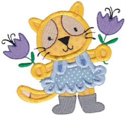 Applique Kitten & Tulips embroidery design