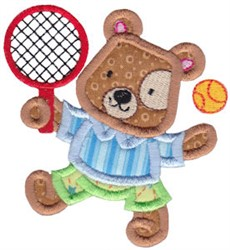 Applique Tennis Teddy Bear embroidery design