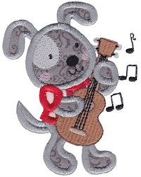 Applique Puppy & Guitar embroidery design