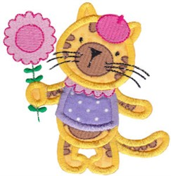 Applique Tiger & Flower embroidery design