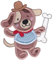 Applique Puppy & Bone embroidery design