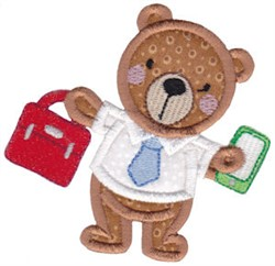 Applique Office Teddy Bear embroidery design