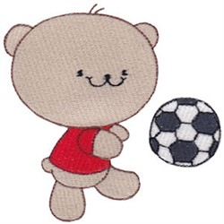 Cute Soccer Playing Bear embroidery design