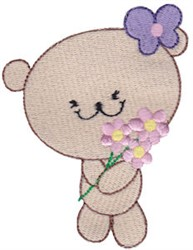 Cute Bear With Flowers embroidery design