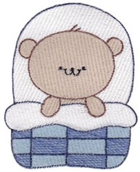 Tucked Into Bed Bear embroidery design