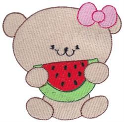 Cute Bear & Watermelon embroidery design