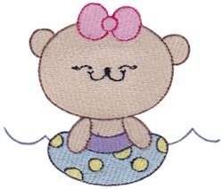 Inner Tubing Bear embroidery design