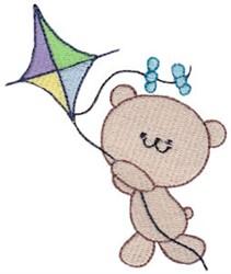 Kite Flying Bear embroidery design
