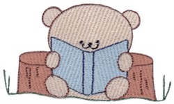 Reading Teddy Bear embroidery design