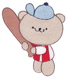 Cute Bear Playing Baseball embroidery design