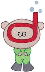 Cute Snorkeling Bear embroidery design