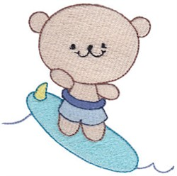 Cute Surfing Bear embroidery design