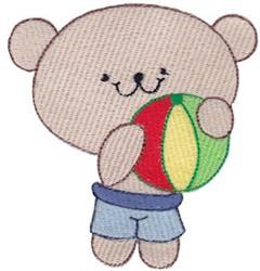 Cute Bear & Beach Ball embroidery design